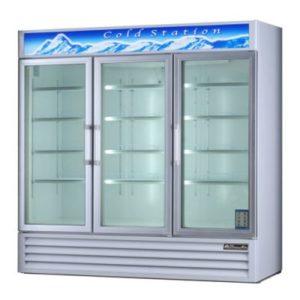 blue air glass door refrigerator